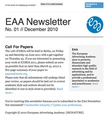 EAA Newsletter No. 01 // December 2010